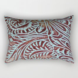 Light Blue & Brown Tooled Leather Rectangular Pillow