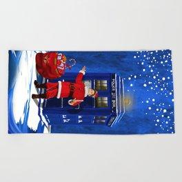 10th Doctor who Santa claus Beach Towel