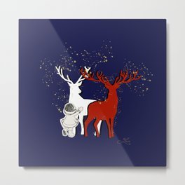 Reindeer Magic Metal Print