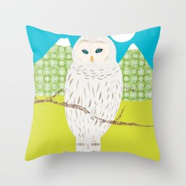Blanche chouette Throw Pillow
