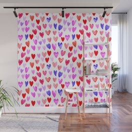 Watercolor Hearts pattern love gifts for valentines day i love you Wall Mural