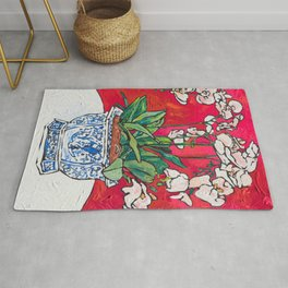 Orchid in Blue-and-white Bird Pot on Red after Matisse Rug