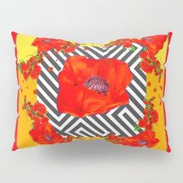 MODERN ART YELLOW-RED POPPIES GARDEN Pillow Sham