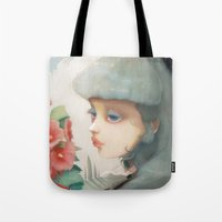 et Tote Bags featuring Pensees et roses tremieres by Ludovic Jacqz