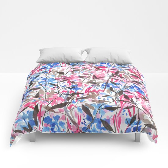 Wandering Wildflowers Pink  Comforters