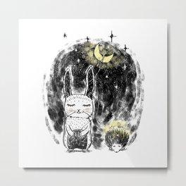 Rabbit and Hedgehog Metal Print