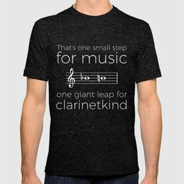 Crossing the break (clarinet) - white text for dark t-shirts T-shirt