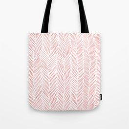 Living Coral Herringbone Tote Bag