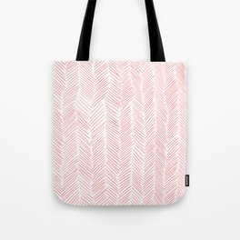 Living Coral Herringbone Tote Bag
