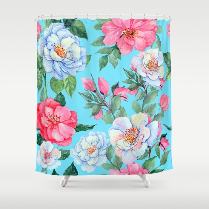 Pink and Blue Floral Print On Aqua Background Shower Curtain