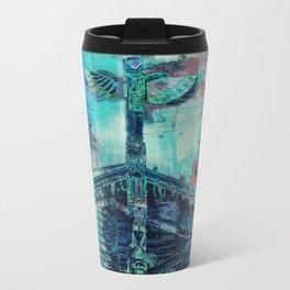 Totem Cabin Abstract - Teal Travel Mug