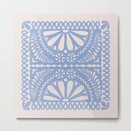 Fiesta de Flores Serenity Blue Metal Print