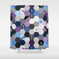 bugs Shower Curtains featuring Hexagons & Bugs by Jessee Maloney - Art School Dropout