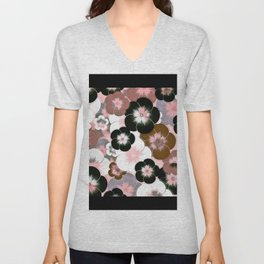 Abstract mauve pink brown black floral Unisex V-Neck