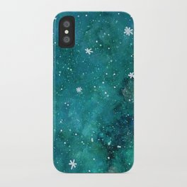 Watercolor galaxy - teal iPhone Case