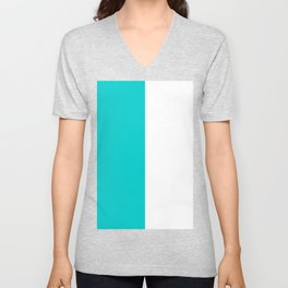 White and Cyan Vertical Halves Unisex V-Neck