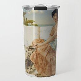 In the Days of Sappho by John William Godward (1904) Travel Mug