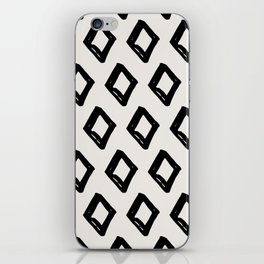 Modern Diamond Pattern Black on Light Gray iPhone Skin