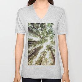 Green Forest Sky Trees Unisex V-Neck