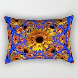 GOLD SUNFLOWERS & ROYAL BLUE PATTERN ART Rectangular Pillow