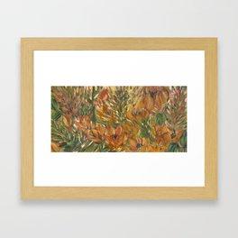 Floral orange print Framed Art Print