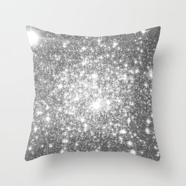 Silver Gray Galaxy Sparkle Stars Throw Pillow