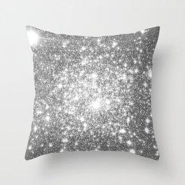 Silver Gray Galaxy Sparkle Stars Throw Pillow