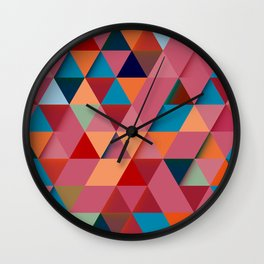 Colorfull abstract darker triangle pattern Wall Clock