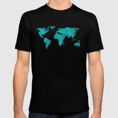 Turquoise Metallic Foil World Map Black MEDIUM Mens Fitted Tee