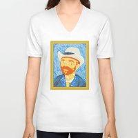 van gogh V-neck T-shirts featuring Selfie Van Gogh by Alapapaju