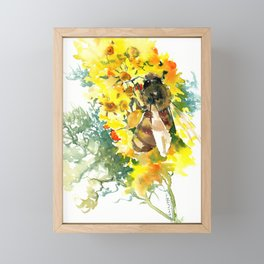 Honey Bee and Flower yellow honey bee design honey making Framed Mini Art Print