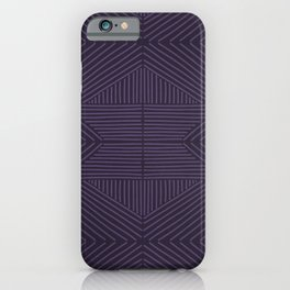 Royal purple lines on mudcloth iPhone Case