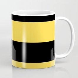 Even Horizontal Stripes, Yellow and Black, XL Coffee Mug
