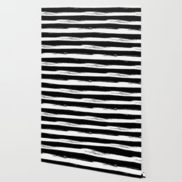 Paint Stripes Black and White Wallpaper