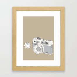 """Yashica Camera - """"Say Cheese"""" - soft-brown Framed Art Print"""