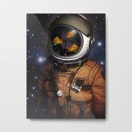 Astronaut and Goldfish Metal Print