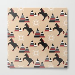 American Indians style pattern with black horse jumping in the mountains Metal Print