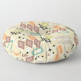 Retro Mid Century Modern Atomic Abstract Pattern 241 Floor Pillow