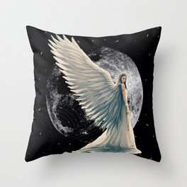 The Moon Angel Throw Pillow