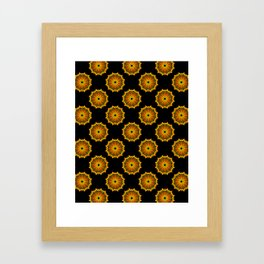 Black and Gold Floral Mandala Fractals - Moroccan style Framed Art Print