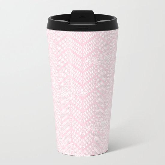 Pink Chevron Floral Metal Travel Mug