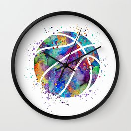 Basketball Watercolor Art Print Sports Poster Home Decor Kids Room Sports Painting Nursery Decor Wall Clock