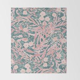 Tropical Daydream Blush Green Throw Blanket