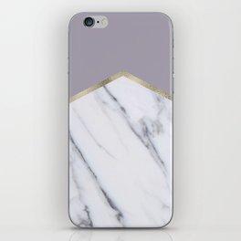 Smokey lilac - gold geometric marble iPhone Skin