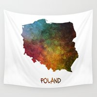 poland Wall Tapestries featuring Poland map  by jbjart