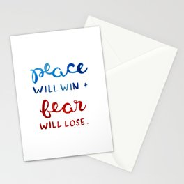 car radio lyrics (blue and red) Stationery Cards