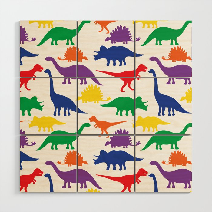 Dinosaurs - White Wood Wall Art
