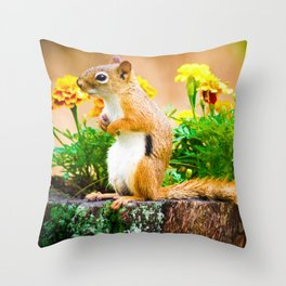 Squirrel Among the Marigolds Throw Pillow
