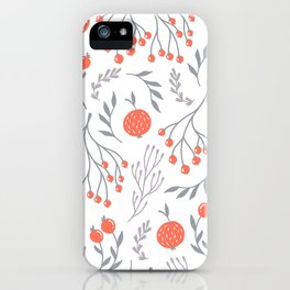 Red Berry Floral iPhone Case