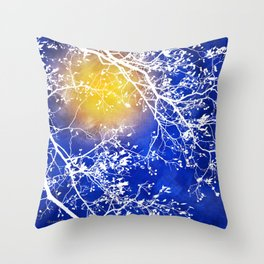Blue Tree Abstract Throw Pillow